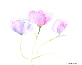 "Original floral watercolor painting: ""Trio of Blossoms"""
