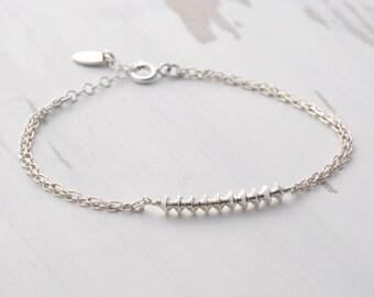 Dainty Silver Bracelet - Beaded Bracelet - Double Chain Bracelet - Minimal Bracelet - Bridesmaid Bracelet