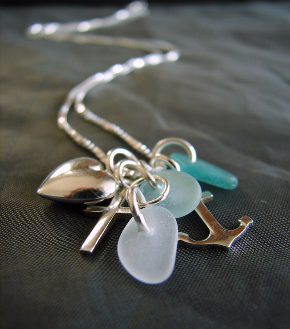 The Anchor Holds sea glass necklace in teal and white