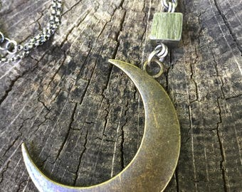 Crescent Moon and Pyrite Adjustable 16 - 18 Inch Double Stranded Necklace