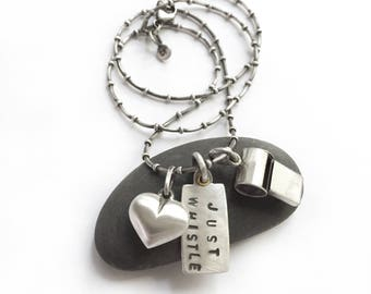 """Vintage Sterling Silver Whistle Heart Necklace Handmade Stamped Tag Just Whistle Bacall Have and Have Not 18"""" Dotty Snake Chain"""