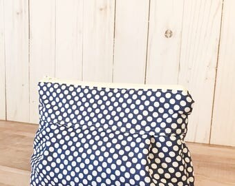 Makeup Bag No. 1 in Navy Blue Dots with Wipeable Lining