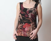 Black and pink tank top, Sleeveless summer top in floral vintage fabric, Floral tank top, Summer clothing, Womens tops, MALAM, size UK14