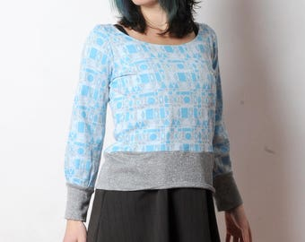 Blue and silver sweater, light blue geometric sweatshirt, Womens clothing, Womens sweaters, Fall fashion, MALAM, White, grey and blue top