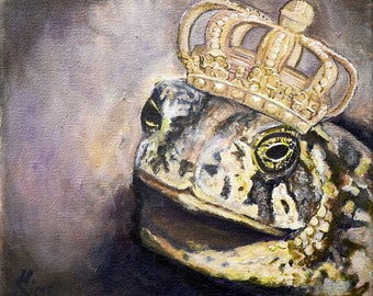 Frog print, toad art, king wall decor, crown, Fine art , giclee  Size mat OPTION Heather Sims