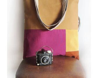 ON SALE On my Way Golden Corduroy, Rust Brown, Rust and  Mulberry Tote Bag with striped straps