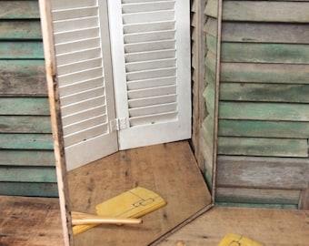 Vintage medicine cabinet door mirror chippy cottage Architectural salvage