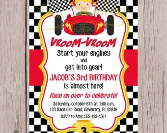 PRINTABLE Race Car Birthday Party Invitation / Personalized Racing Invitation / Choose Hair & Skin Color / Red Black and Yellow / You Print