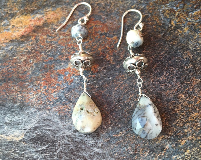 Dendrite Opal and Bali Silver Sterling Silver Earrings Gift, OOAK Unique