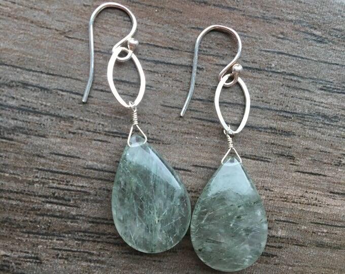 Green Rutilated Quartz Sterling Silver Earrings