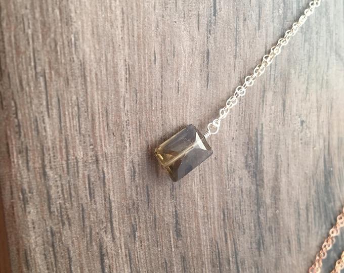 Faceted Smoky Quartz Rectangle Littles Necklace Talisman Good Luck Special Healing Chakra Energy Gemstones Inspirational Gift