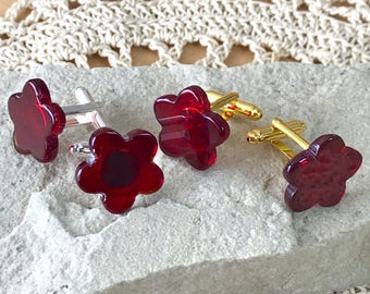 Deep Red Glass Cufflinks Semi Transparent Blood Red Flower Shapes on Your Choice of Gold or Silver Tone T Bar Fittings - Gift Boxed