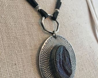 Sterling Silver and Leather Drusy Necklace