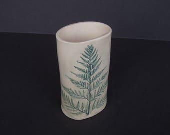 Fern Impression Vase . Handmade Pottery