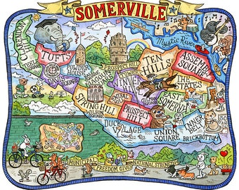 "Somerville Massachusetts Map Art Print 11""x 14"""