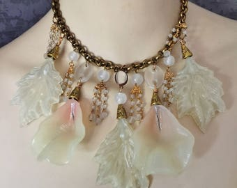 Assemblage 1940s Style Necklace, Large Molded Resin, Plastic Leaves and Flowers,Vintage Glass Beads, Vintage Chain, OOAK