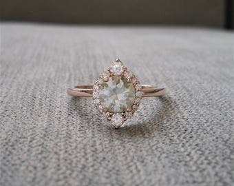 """Grey mint Moissanite and Diamond Engagement Ring Halo Bohemian Art Deco Indian Vintage Antique 14K White Gold Exclusive """"The Jasmine"""""""