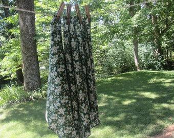 Four Vintage Napkins - Cotton Blend Floral Napkins - Green White Orange Yellow - Green Floral Napkins