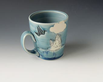 Origami Clay Mug - blue porcelain ceramic coffee cup with cranes and clouds - wheel thrown handmade pottery