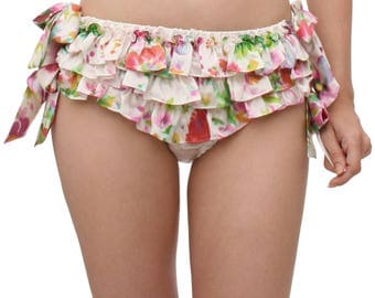Silk ruffled panties - printed floral multi color silk! 100% silk with side ties, turquoise, aqua, blue- frilly and ruffly panty bloomers