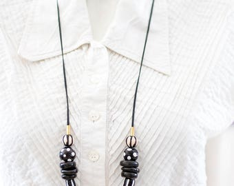 Black and White Necklace,  Statement Necklace, Beaded Necklace, Modern Necklace, Handmade Beads, Fashion jewelry, Stripes and Dots