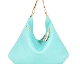 Isabelle - Handmade Mint Green Leather Hobo Shoulder Bag