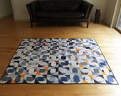 Vintage Economy Patch Quilt Antique Vintage Rescue Quilt Twin or Full Size Hand Sewn Day or Night Patch Handmade Vintage Quilt Blue White
