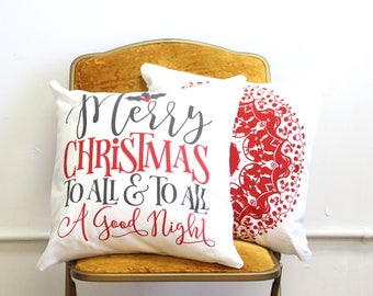 Merry Christmas Pillow - Merry Christmas to All - Christmas Throw Pillow - Holiday Pillow - Red and White Holiday Pillow