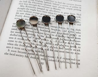 Silver Hair Stick- Cab 12mm Glue On Hair Stick Supply- Silver Tone Hair Fork - Make Your Own Hair Accessory- Set of 5