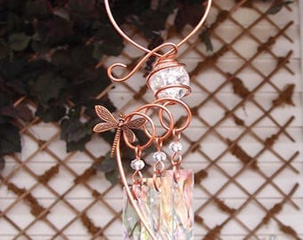 Dragonfly Windchime Glass Wind Chimes Copper Garden Lawn Yard Art Sculpture Stained Glass Ornament Metal Clear Rainbow