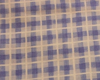 Blue and white check 100% cotton fabric