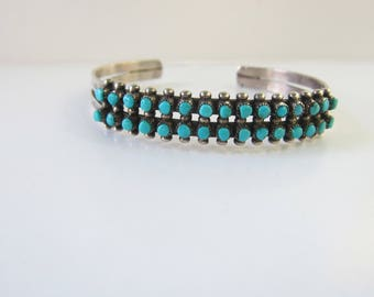 """SOLD - hold for Mia - Native American Sterling Silver Double Row Snake Eye Genuine Turquoise Cuff Bracelet - 6-7""""    1842"""