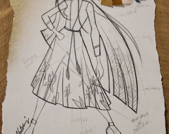 Exclusive Fashion Sketch by Project Runway's Valerie Mayen, Fashion Illustration with Fabric Clippings Attached, Home Decor, Office Decor