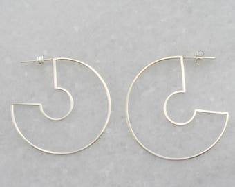 modern hoop earrings, circle crescent earrings, minimal circle earrings, gold filled hoop earrings, Rachel Wilder Handmade Jewelry