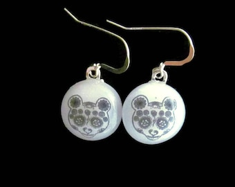 Panda Bear Earrings, Fused Glass Jewelry, Sugar Skull Earrings, Fused Glass Earrings, Panda Jewelry, Animal Lover Gift, Panda Bear Gift