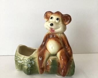 Friendly Bear on a Log Planter Vintage Home Decor Small Succulent Planter Ceramic Figurine Woodland Yogi Bear