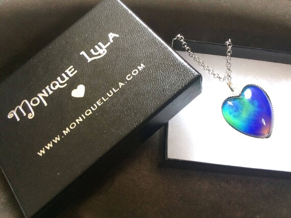 Mood Color Changing Glass Heart 70s Boho Hippie Love Necklace