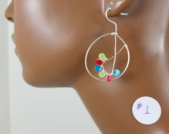 Silver 1.5 and 2 inch hand painted hoop threader earrings 850