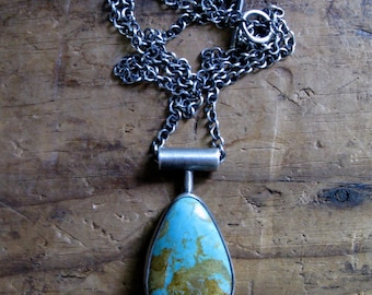 Handmade Sterling Silver and American King's Manassa Turquoise Necklace Pendant