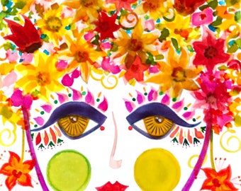 Meet Lily! - Gypsy Garden Girl - Carmen Miranda Inspired Face - Print from Original Watercolor Painting by Suzanne MacCrone Rogers