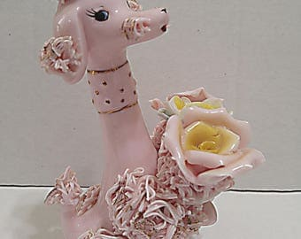 Napco Pink Spaghetti Poodle with Flowers, 1958
