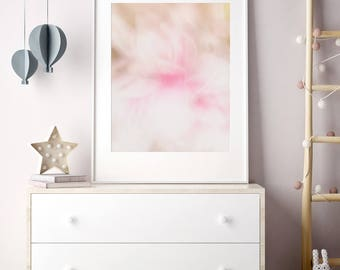 Little Girls Bedroom Decor - Abstract Flower Photography - Scandinavian Modern Baby Room Wall Art - Extra Large Artwork - Pink White