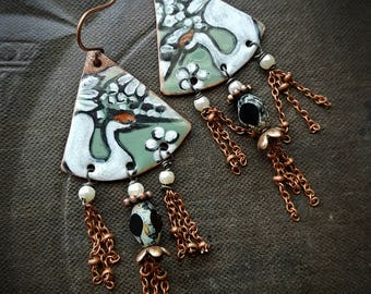 Enameled Charms, Enameled Earrings, Poetic, Bohemian, Artisan Made, Cranes, Pearl, Earthy, Organic, Rustic, Beaded Earring