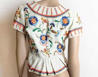 Vintage 1940s Blouse - Embroidered Floral Ethnic Style Peplum Top - Thick Linen - Mexican Style - Boho Bohemian - Small XS
