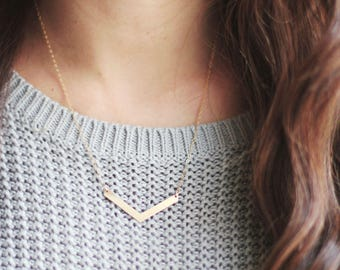 Minimalist Chevron Arrow Necklace | Brass Necklace | 14k Gold Filled Necklace | Sterling Silver Necklace | Chevron Necklace