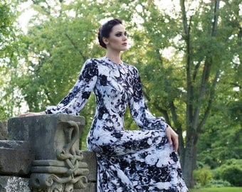 Black and White Floral Dress with Bishop Sleeves-Made to Order