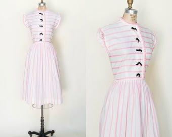 1950s Day Dress --- Vintage Pink Striped Jo White Dress