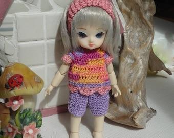 Crochet clothes Ai Jun Planning BJD 5 inches doll Capri Pants Top Headband Pink Purple Yellow