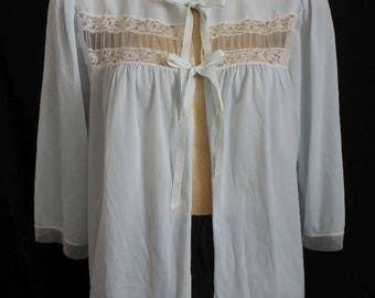 Vintage 50s Bed Jacket Palest Blue Embellished with Scalloped Chantilly Lace and Net Panel by Dora Gottlieb, Size M to L