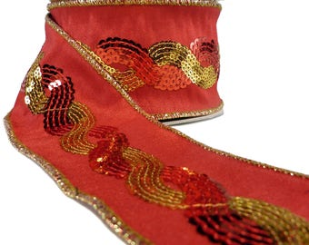"""Tomato Red Faux Silk With Sequin Braid Wired Ribbon  2.5"""" Wide"""